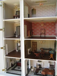 Dolls house hotel, cross section, can you see the lift?!