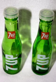 Rare Vintage Collectible 7UP Advertising Glass Salt and Pepper Shakers