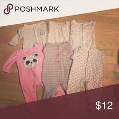 3 months girl's pajamas bundle 6 pieces ,generally used One Pieces