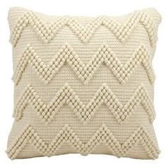 Large Chevron Throw Pillow Ivory (20