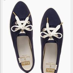 Kate Spade Keds Pointer Sneakers Keds for Kate spade navy blue pointer sneakers. Gold hard wear and white accents. Worn a handful of times. The insoles and soles show some wear, and the canvas has a bit of wear. Good overall condition. kate spade Shoes Sneakers