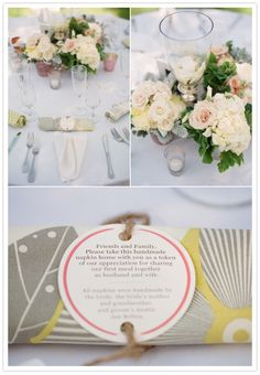 """Handmade napkins - a perfect Thank You gift for guests for """"sharing our first meal together""""."""