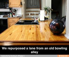 Bowling lane table top. Someday I WILL have this in my house....... someday. :)