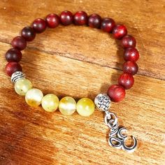 Rosewood Jade and Om Bracelet/ natural/ by angelovajewelry on Etsy