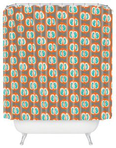 Mummysam Orange Pomegranate Shower Curtain - eclectic - Shower Curtains - DENY Designs
