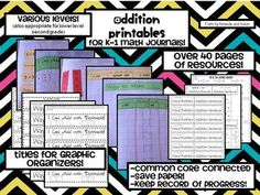 48 page Freebie  These printables are to support math journals in K-1 (although it's also suitable for early second grade as well).