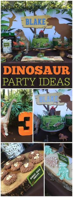 This dinosaur party has great ideas! Check out the edible dino egg nests on slide 5! See more party ideas at CatchMyParty.com!