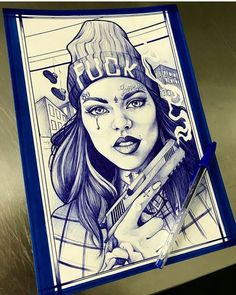 Gangster girl by Chicano Art Tattoos, Gangsta Tattoos, Behind Ear Tattoos, Clown Tattoo, Lowrider Art, Gangster Girl, Dark Art Drawings, Occult Art, Dance Humor
