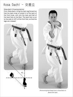 Karate Tachi Kata. Kosa Dachi. A pose from Bassai Sho Kata.