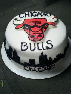 Chicago bulls cake i made for my boyfriend :)