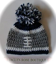 Crochet baby hat NFL college football hat Dallas Cowboys Seahawks packers newborn or month infant boy or girl pom pom photo prop Crochet Hats For Boys, Crochet Baby Beanie, Crochet Cap, Baby Hats Knitting, Love Crochet, Loom Knitting, Crochet Crafts, Crochet Projects, Crochet Football