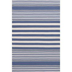 Perfect to pull together a room with a lot of white.  Beckham Stripe Denim Indoor/Outdoor Rug