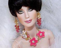 "DIVIDENDS - Ooak Swarovski Fashion Jewelry for 16"" inch Dolls Like Tonner Tyler, Integrity FR:16 Tulabelle,Ellowyne Wilde-Free Shipping!"