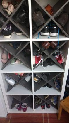 place to put your shoes! Ikea kallax with 'winedivider'. Perfect place to put your shoes! Ikea kallax with 'winedivider'. Perfect place to put your shoes! Ikea kallax with 'winedivider'. Perfect place to put your shoes! Ikea kallax with 'winedivider'. Entryway Shoe Storage, Closet Shoe Storage, Diy Shoe Rack, Cubby Storage, Ikea Storage, Stair Storage, Cupboard Storage, Understairs Shoe Storage, Kids Shoe Storage