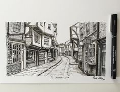 The Shambles York (2016) #art #drawing #pen #sketch #illustration #linedrawing #architecture #city #york #yorkshire #theshambles
