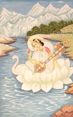 Goddess Saraswathi is the Hindu goddess of education, music, arts, knowledge and learning. Find a good collection of Goddess Saraswati images & wallpapers. Indian Goddess, Goddess Art, Saraswati Painting, Saraswati Goddess, Saraswati Photo, Saraswati Mata, Art Magique, India Art, Hindu India
