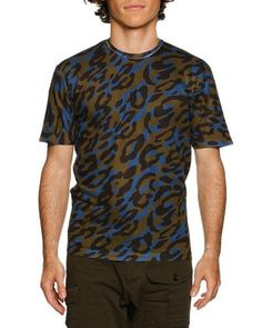DSQUARED2 CAMO LEOPARD-PRINT T-SHIRT, GREEN/BLACK/BLUE. #dsquared2 #cloth #