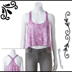 Lilac Braided Racerback Crop Tank Top Juniors XL Braided straps lend a fun twist to this juniors swing tank top by Mudd. Product features: cropped design, scoop neck. Color: Lilac Bouquet. Rayon/polyester; machine wash. Comes from a smoke-free home!  Mudd Tops Tank Tops