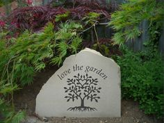 York Stone freestanding solid stone sign with garden poem. Either a garden ornam Garden Poems, Garden Quotes, Personalized Signs For Home, Garden Signs, Garden Path, Serenity Garden, York Stone, Rustic Stone, Garden Ornaments
