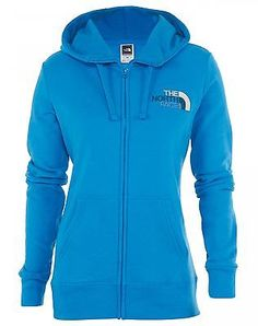 North Face Emb Logo Full Zip Hoodie Womens CX77-AJW Clearlake Blue Hoody Size XL