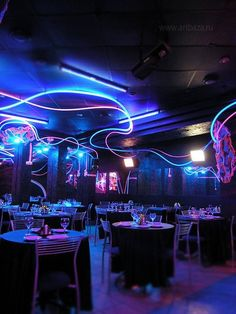 Very interesting effect used in this place, like you are in the photo. Idea for night club