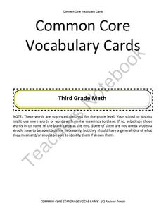 Grades K 8 Common Core Standards Math Vocabulary Cards border=