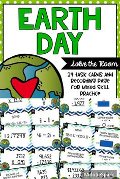 Earth Day Solve the Room Task Cards for Grades 4-5. Mixed skill review!
