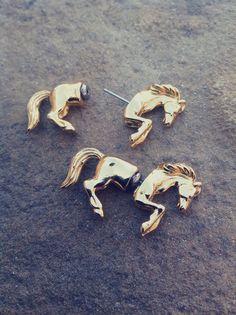 Vintage 3D Horse Earrings