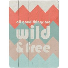 """""""All good things are wild and free"""" wall art... LOVE the chevron background"""