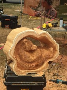 This was carved in an speed carving event at a woodcarving competition in Hope, BC by Mark Colp,