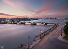 Биржевой мост, набережная Макарова, Малая Нева, Петропавловская крепость, город, крыши