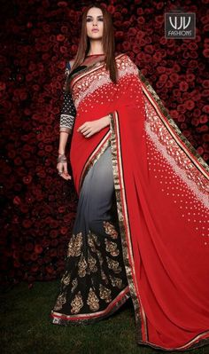 Topnotch Red And Back Designer saree  Unique elegance can come out through the dressing design with this red and black. You could see some interesting patterns completed with patch border work. Comes with matching blouse.
