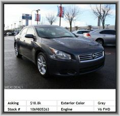 2012 Nissan Maxima 3.5 S Sedan  Overall Length: 190.6, Coil Front Spring, Front Hip Room: 53.4, Fuel Type: Premium Unleaded, Rear Leg Room: 34.6, Fuel Capacity: 20.0 Gal., Rear Door Type: Trunk, Fuel Consumption: Highway: 26 Mpg, Two 12V Dc Power Outlets, Steel Spare Wheel Rim, Leather Shift Knob Trim, 698 Lbs., Gross Vehicle Weight: 4, Piano Black Center Console Trim, Trip Computer, Front And Rear Reading Lights