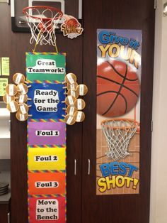 """Sports themed behavior chart. I laminated the signs, and then duck taped them together (colorful duck tape!) Students can move all the way up to the goal for a """"slam dunk!"""" Then they get to shoot basketballs in the goal at the end of the day!"""