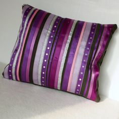 ribbons of purple, pink, and silver sparkle bling decorative accent pillow