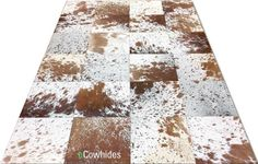 eCowhides.com - Patchwork brown and white speckled cowhide rug, $368.02 (http://www.ecowhides.com/patchwork-brown-and-white-speckled-cowhide-rug/)