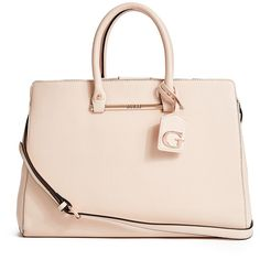 GUESS Bar Collection Tote ($90) ❤ liked on Polyvore featuring bags, handbags, tote bags, nude, pink handbags, pink tote, guess purses, guess handbags and nude purses