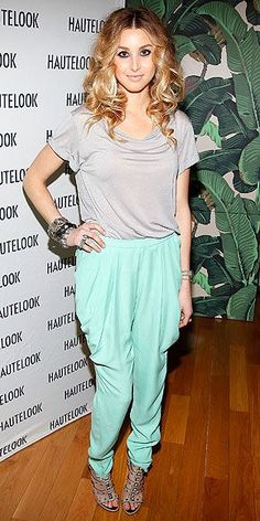 Whitney Port kicks off N.Y.C. Fashion Week in style rocking pastel harem pants, jeweled sandals, chunky bracelets and heavy eye makeup for the HauteLook party at the Bryant Park Hotel.