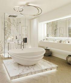 Светлый интерьер ванной комнаты.