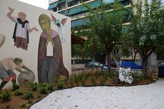 DIY pocket park with wall mural by Antonis Fikos, in Athens, dedicated to Sophocles (father of Greek Tragedy) by Atenistas