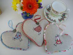 Handmade Lavender Hanging Heart, Cath Kidston Pink Floral Fabric, hen applique | eBay