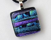 EP 116 Dichroic glass pendant Purple and turquoise fused dichroic glass pendant necklace.