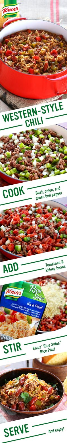 Mosey on over to Knorr for flavors of the American West. Western-Style Chili is perfect for your family, the coolest cowboys & cowgirls in town. Follow this easy one pot dinner recipe: 1. Cook beef, onion, & green bell pepper 2. Add tomatoes & kidney beans 3. Stir in Knorr® Rice Sides™ - Rice Pilaf. Serve w/ cheese & cornbread. Happy trails!
