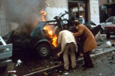 Aftermath of a mafia car bomb in Italy, 1984
