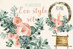 Watercolor eco style set - Illustrations