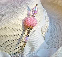 PINK BERRY & ROMANTIC SPARKLING HATPIN - Ladies Hat pin by dotty-hatpins, via Flickr