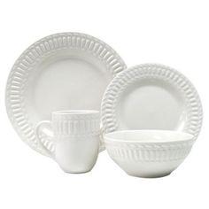 Thomson Pottery T9940 16PC SET Arctica 16 Piece White Dinnerware Set
