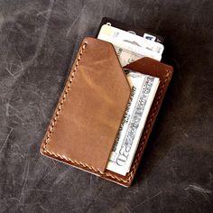 """Rex"" handmade leather slim wallet in saddle tan. www.BasAndLokes.com-SR"