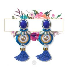SOUTACHE EARRINGS COCO blue yellow and white with by LabDIY
