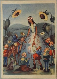 schöne Künstler-AK Schneewittchen und die 7 Zwerge Liselotte Deisenroth 1947